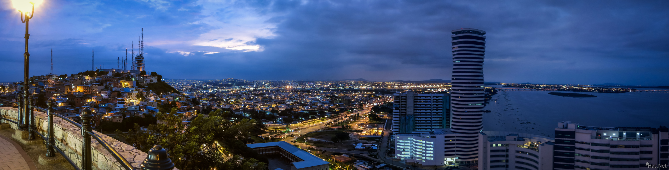 Guayaquil Las Penas and the Point Panorama at night