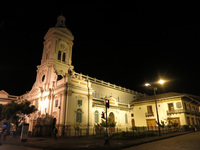 Cuenca church at night Alausi, Cuenca, Ecuador, South America
