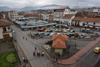 Plaza before San Francisco Church of Cuenca Alausi, Cuenca, Ecuador, South America