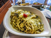 Veggie Pasta Lunch at Cuchara de Magica Alausi, Cuenca, Ecuador, South America