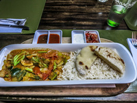 Veggie Lunch at Ecapltus cafe in Cunca Cuenca, Ecuador, South America